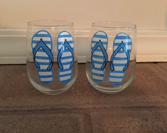 Hand Painted Flip Flops Stemless Wine Glasses - set of 2