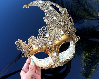 Venetian Goddess Golden Bronze Masquerade Mask Made of Resin, Paper Mache Technique with High Fashion Macrame Lace & Diamonds