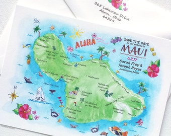 Map Save The Date - Watercolor Map Save The Dates 45 - Hand Illustrated Custom Wedding Map - Maui Save The Date Cards