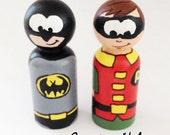 Wooden Peg Superheros Batman and Robin