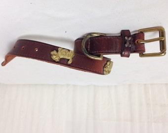 "18"" Leather Dog Collar w/Metal Bone & Scottie Medallion brown leather"