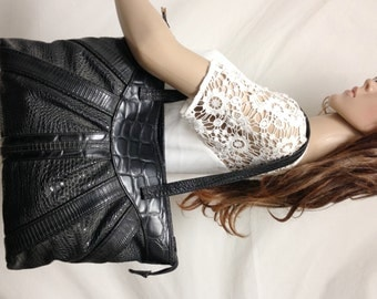 Reptile Print Tote,Large, black purse,bag,Shoulder bag,Faux leather