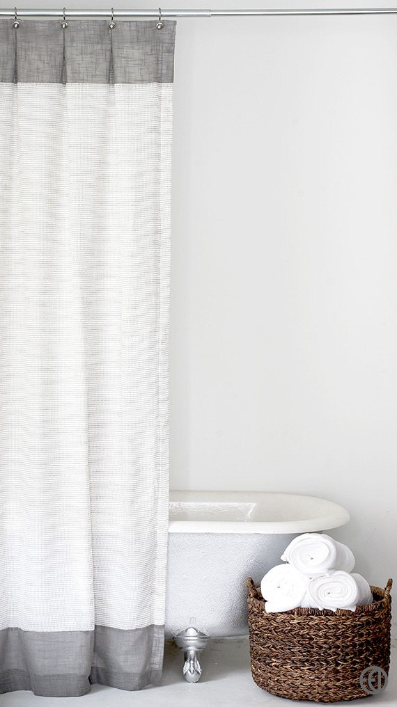 Grey And White Extra Long Fabric Shower Curtain By