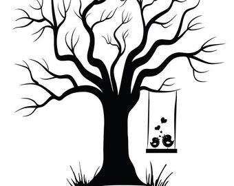 Alternative canvas fingerprint tree wedding tree guest book alternative guest book canvas wedding tree guest book hand drawn fingerprint tree print digital template pronofoot35fo Image collections