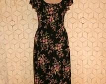 Romantic Floral Dress Boho Spring Dress Scoop Neck Black Pink Midi Chiffon Butterfly Sleeve Liz Claiborne Size 6 Small Medium Women Clothing
