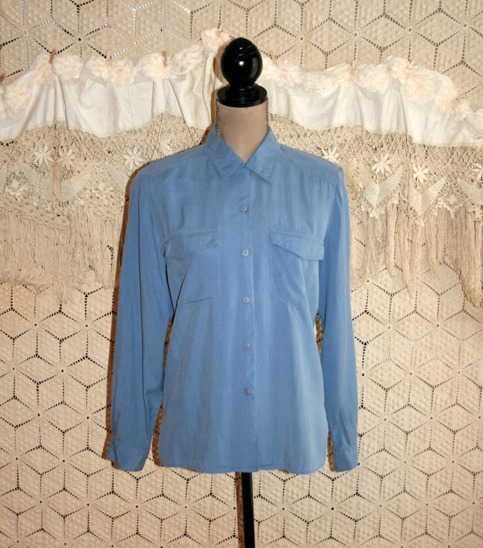 Blue Silk Blouse Women Shirt Long Sleeve Button Up Oversized