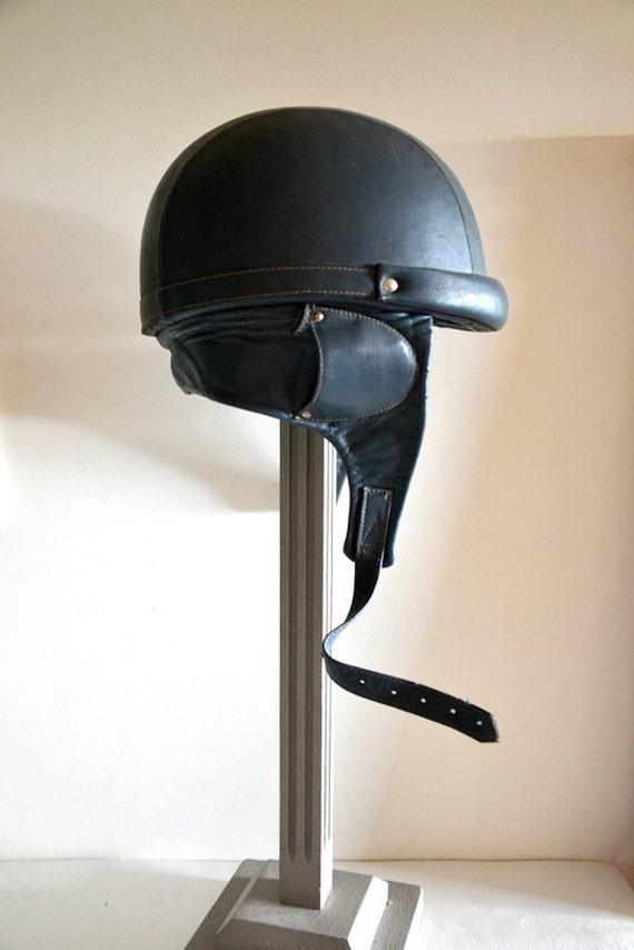 ancien vintage fran ais 1930 casque bol de moto en cuir. Black Bedroom Furniture Sets. Home Design Ideas