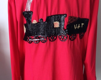 Shirt men's cowboy, glitter, Vintage train