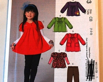 McCalls 6153 - Toddler Girl's Top, Dress, and Leggings Pattern - Size 1, 2, and 3
