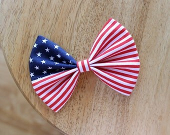 """4.5"""" American flag hair bow, 4th of July patriotic hair bow, fourth of July, red blue white , independence day, American flag hairbow"""