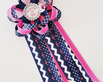 Nautical Girl Baby Shower Corsage, Pink and Navy Mommy to Be Pin, Sailor Baby Shower Decor, Baby Girl Shower Pin, Grandma to Be Corsage