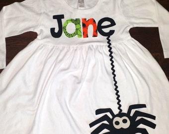 Halloween Dress-spider Appliqué Dress-Personalized girl's spider appliqué dress-you choose size and sleeve length