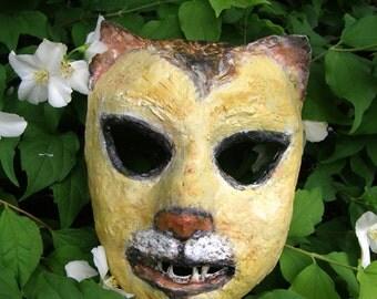 Paper mache mask Cat / Animal mask / Carnival mask