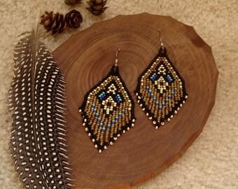 Lotus Bud..Beaded Fringe Earrings Native American Inspired
