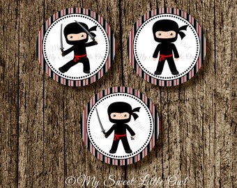 Ninjas  Cupcake Topper - ninja birthday party - ninja sticker - ninja party favor tag - ninja label - ninja label