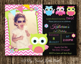Owl invitation - pink owl birthday - owl invite - chalkboard owl invitation - owl baby shower invitation - pink lime owl invitation
