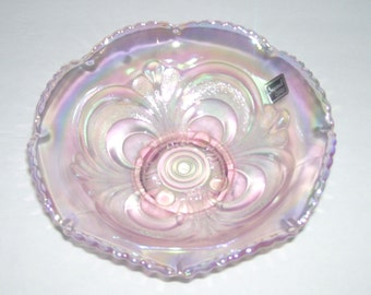 Imperial by Lenox Scroll Embossed Pink Carnival Glass Bowl 1970s
