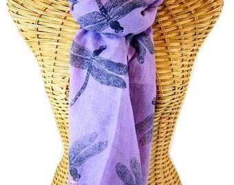 Purple Organic Cotton Dragonfly Scarf