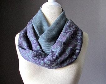 Grey Infinity scarf,   jersey scarf , sweater knit scarf in Purple / grey, floral scarf