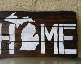 Michigan Wall Art - Cedar Plank Art - Wood Shim Art - Michigan Home Sign