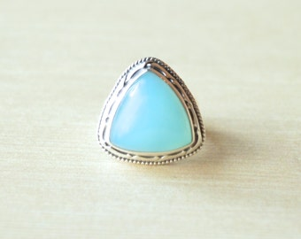Antiqued Caribbean Blue Chalcedony Ring