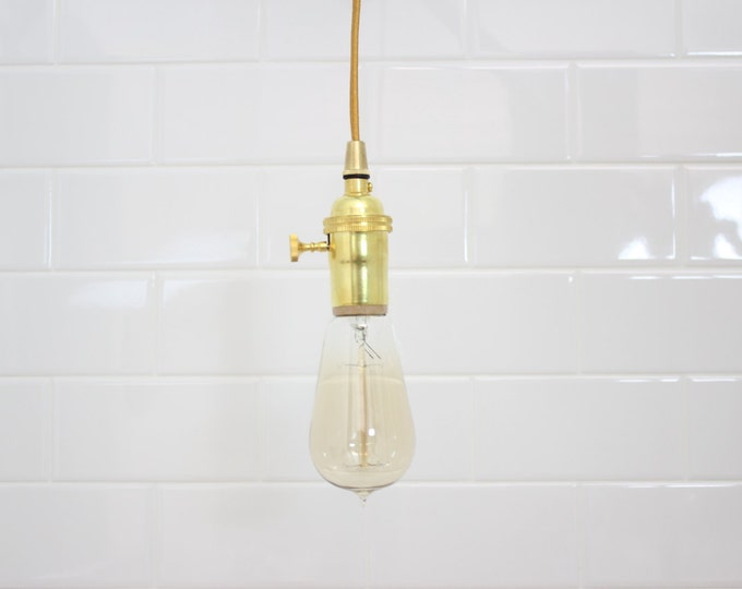 Industrial Plug In Pendant Light Brass Gold Bare Bulb Socket Edison Bulb Plug or Canopy Rayon Cloth Covered Black Brown White