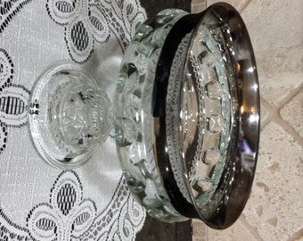 Indiana Glass Silver Band King's Crown Thumbprint Pattern Glass Compote