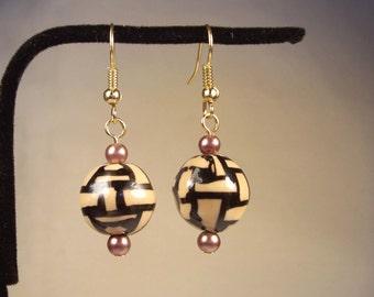 Black Earrings, Acrylic Earrings, Beige Tan Earrings, Brown Earrings, Bronze Earrings, Bronze Pearl Earrings