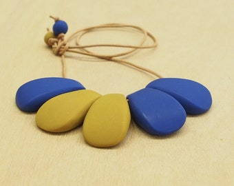 Blue & mustard yellow polymer clay bib necklace