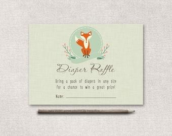 Diaper Raffle Ticket Printable, Baby Shower Diaper Raffle, Woodland Baby Shower Games, Fox Diaper Raffle Ticket, Printable Diaper Raffle