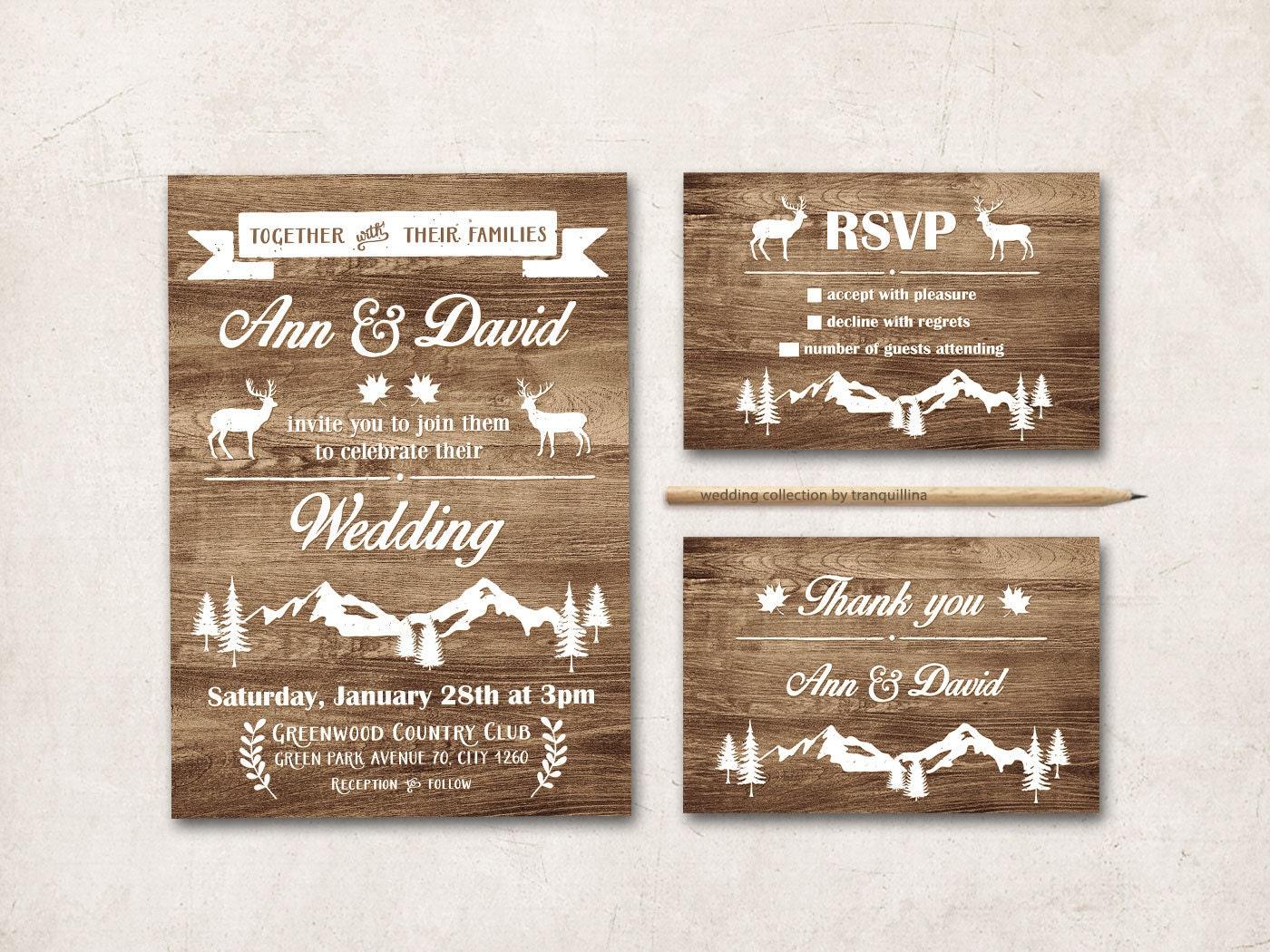 Rustic Wedding Invitation Printable Fall Winter Wedding