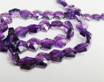"Amethyst Hexagon (6sided) Faceted Beads Approx. 8mm-15.5""L 48pcs. 25grams"