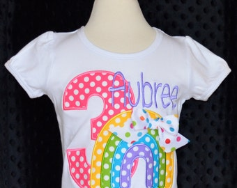 Rainbow Birthday Applique Shirt or Onesie Boy or Girl