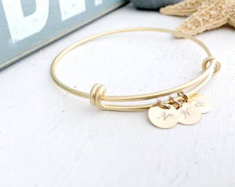 Personalized initial Bangle monogram Initials Bangle 3 custom letters 14k Gold circle discs Monogram jewelry hand stamped letter bangle gift