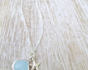 Alice Blue Necklace with Starfish 925 sterling silver starfish necklace Light Blue Necklace Beach Wedding Bridesmaid Gifts beach wedding