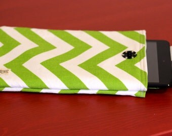 Ipad mini, Kindle or small Tablet Sleeve with green and white chevron fabric