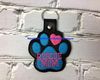 RESCUE MOM Paw Print - In The Hoop - Snap/Rivet Key Fob - DIGITAL Embroidery Design
