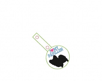I Love My Papillon - DOG In The Hoop - Snap/Rivet Key Fob - DIGITAL Embroidery Design