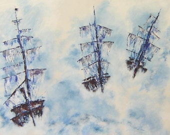 Ghost Pirate Ships In The Sky -Ocean Painting - Original Acrylic Abstract Style Seascape, Blue Palette Knife Painting and Brush Strokes