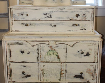 Antique Provencial Dresser with Original Mirror Hand Painted French Country Shabby Chic Furniture Chest of Drawers Highboy Dresser