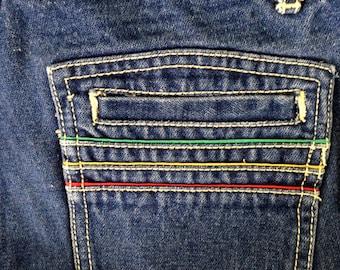 Vintage 70s Jeans \\ 80s highwaisted Jeans \\ Brittania Rainbow Rasta Clothing \\ High Waisted Flare Jeans \\ High Waist Denim Mom Jeans B 9
