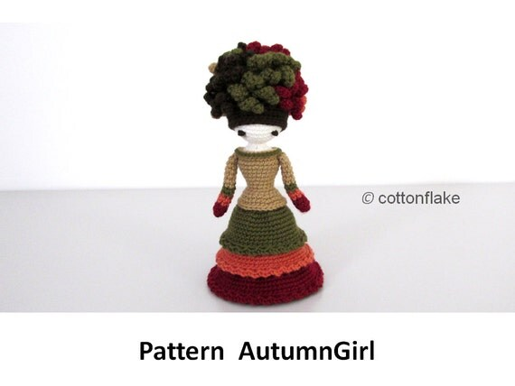 Mini Amigurumi Doll Pattern : Pattern Autumn Girl miniature doll amigurumi by cottonflake