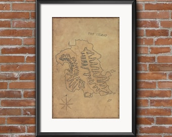 Lost Island Map Poster / Old Parchment  / 12 x 18 TV