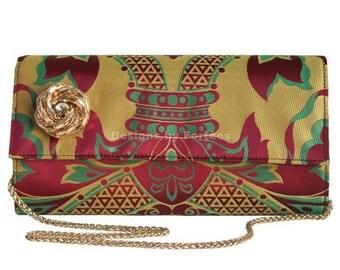 SALE!! Multicolour Damask Print Clutch, Tribal Clutch Bag, Clutch Purse - Bridal Clutch, Handmade Clutch Bag, Evening Bag, Bridesmaids Gifts