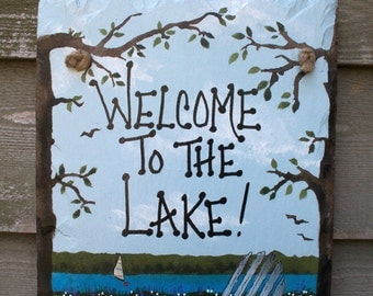 Welcome to the Lake hand painted Beach Chair Wall-hanging Slate