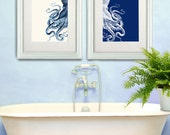 Bathroom Decor 2 Octopus Prints NAVY Blue /Cream Nautical Decor bathroom wall decor Octopus Wall Art Octopus Decor home Decor Bathroom wall