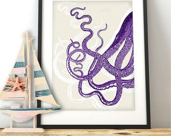 Octopus Tentacles in Purple Octopus print coastal living decor Beach Wall art Kraken wall art Nautical Nursery Decor sea side décor marine