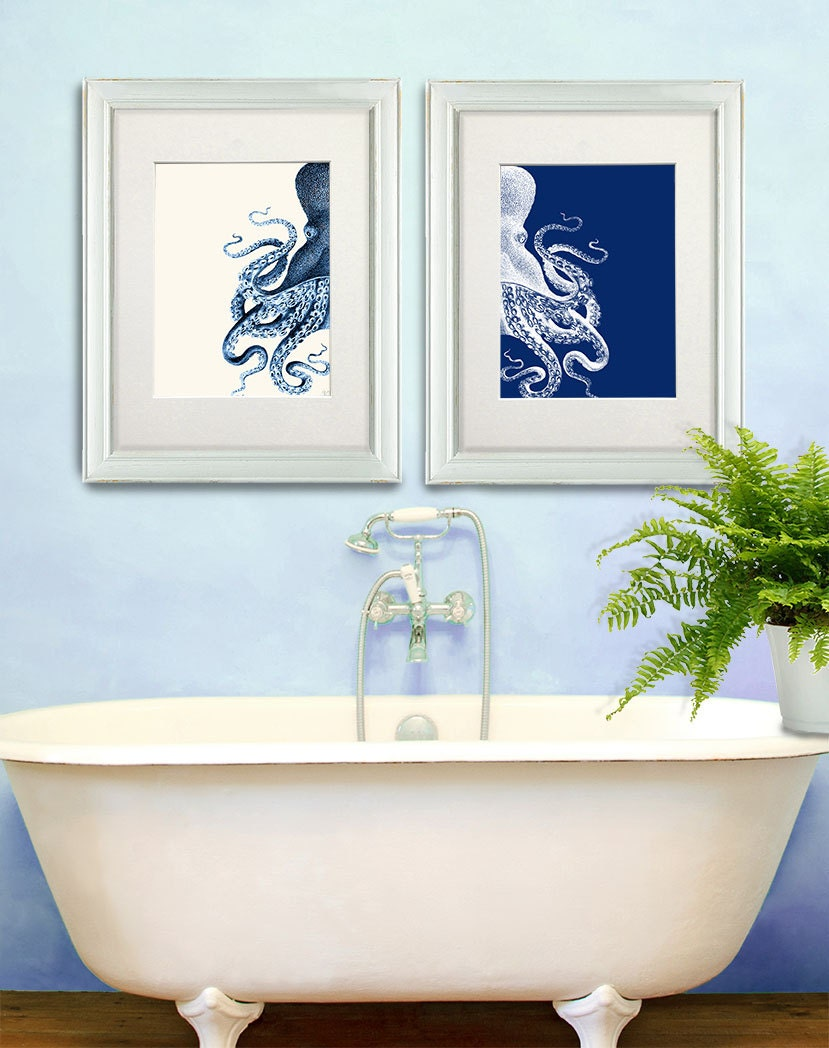 Bathroom decor 2 octopus prints navy blue cream by for Navy bathroom accessories