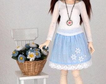 Linen Skirt  for slim  BJD MSD 1/4 Minifee
