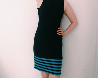 Vintage BCBG black party dress with blue stripe detail